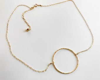 Large Hammered Circle Neclace