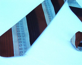 1960's Striped Thin  Necktie , Vintage Retro Fashion Extra Long