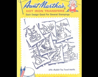 Aunt Martha's Rabbit Tea Towel Motifs - Embroidery Transfers 675 - CUT - Hot Iron Sewing Transfer - DIY Needlecraft Motifs - Rabbit - Bunny