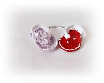Crochet Flip Flops, Baby flip flops, Sandals baby, Red Purple sandals, Red Flip Flops, Summer Baby Shoes, Crochet Baby Sandles, Girl Sandles