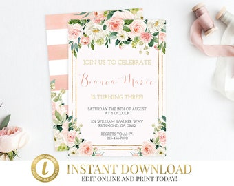 INSTANT DOWNLOAD Peach Invitation, Peach Birthday Invitation, Peach Printable Invitation, Bridal Shower, Baby Shower, Templett, Gold, Floral