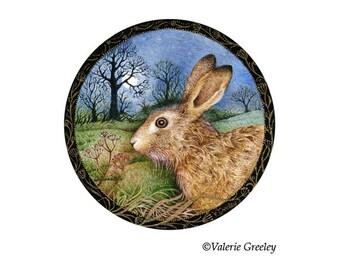 Full Moon Hare Miniature Print