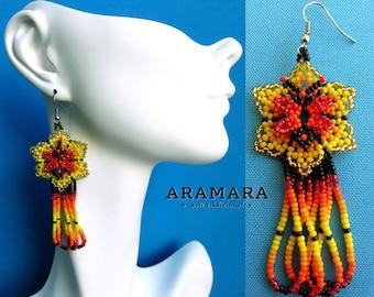 Flower Earrings, Mexican Jewelry, Beaded Flower, Mexican earrings, Huichol Earrings, Native american earrings, Mexican folk art, AF-0227