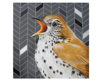 Speckled songbird painting - polka dot - spotted thrush - herringbone pattern - geometric - metallic silver - singing bird painting