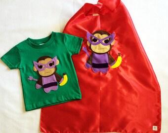 Superhero Cape and Kids Shirt Combo - Team Super Animals - Banana Monkey Green T-Shirt & Red Cape