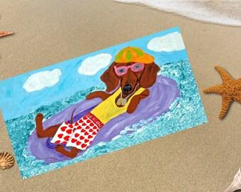 Beach Towel/Dachshund Beach Towel/Dachshund Lazy Lifeguard/Dachshund/Doxie/Wiener Dog/Beach/Surf/Funny Beach Towel/Wiener Dog Beach Towel