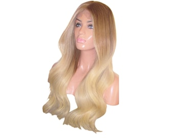 Ready to Ship! Moklox 100% Remy Human Hair Front Lace Wig 22 Long Light Brown 8 Blonde 613 Roots Ombre Balayage Silky Wavy Thick 180 Density