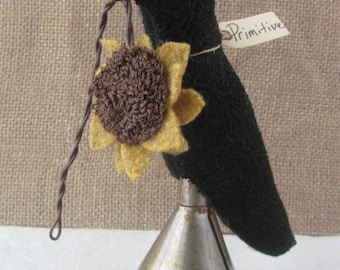 Primitive Punch Needle KIT ~  Crow with Sunflower Make-do on Funnel ~ paper pattern ~ mailed pattern ~ punchneedle ~ needle punch