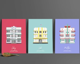 3 Miami Beach Art Deco Architecture illustrations Prints. Triptych of South Beach buildings.