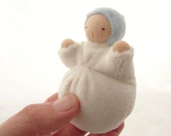 Waldorf toy // ecofriendly doll // small pocket doll // waldorf doll // sweet pea // cloth doll white SP-Wb