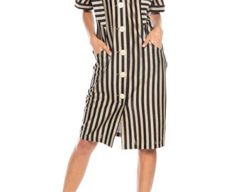 Striped Button Front Dress Size: 8