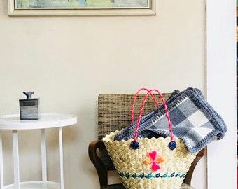 Soft Wool Throw in Gray White Buffalo Plaid Lightweight Blanket w/ Crocheted Edge Wool Home Decor