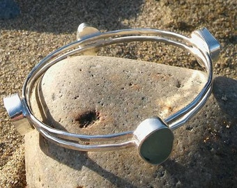 Sea Glass bangle, Sea glass bracelet, Cornish sea glass bangle, Sea Glass jewelry, Silver bangle bracelet, Bridesmaid gift or Birthday gift.