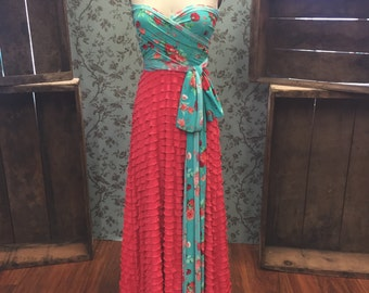 Farmer's Market Florals- Peach/Turquoise Floral with Coral Ruffle Octopus Infinity Wrap Dress- Bridal, MOH, Bridesmaids, Maternity, etc.