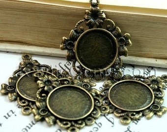 4 pcs Antique Brass Victorian Style Filigree Decorative Rhinestone Cameo Cabochon Frame, Setting, Pendants -FRM-3194AB