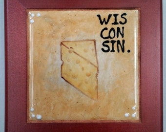 Ode to Wisconsin Cheese | Framed Hand-painted Ceramic Trivet