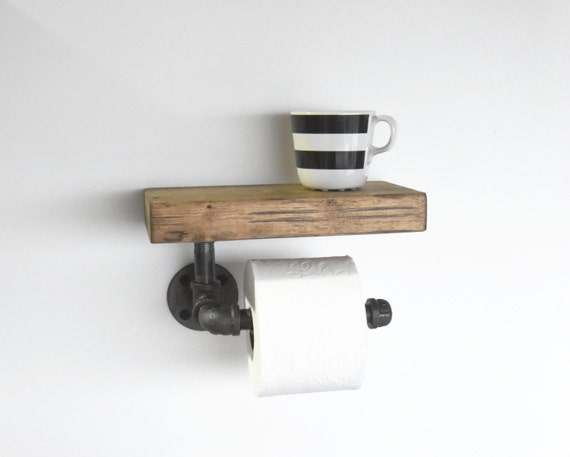 Industrial Pipe Toilet Paper Holder With Rustic Shelf