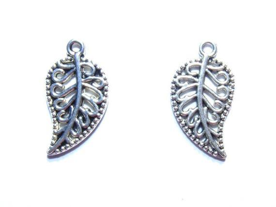 LAST set - 20mm silver leaf charms x 10