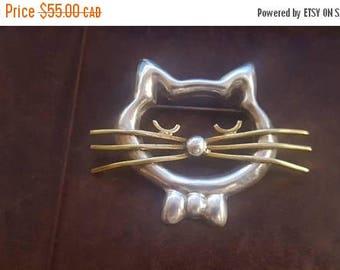 ON SALE Vintage Silver Cat Brooch