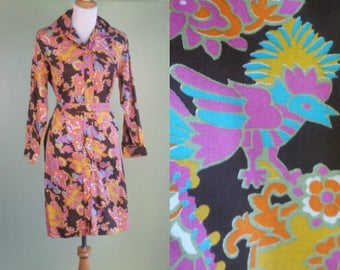 1960s Psychedelic Long Sleeve Dress - Vintage 60s-70s Rounded Collar Dress - Large