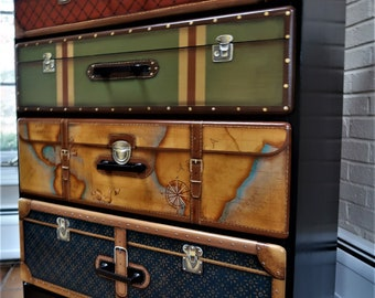 Trompe l'oeil Suitcase Dresser, Hand Painted Dresser