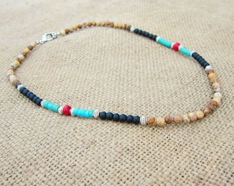 Southwestern Necklace Native American Jewelry, Picture Jasper Necklace, Black Onyx, Turquoise and Red Coral, Tribal Necklace, Boho Necklace