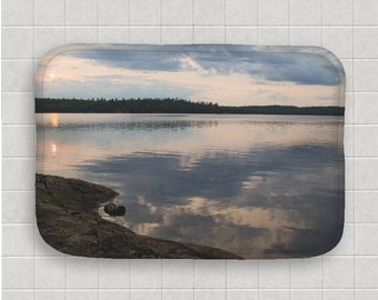 Bath Mat, Boundary Waters, Bathroom Decor, Bath Room Art, Nature Photography, Lake Sunset, Calm Water, Evergreen Trees, Cloud Reflection