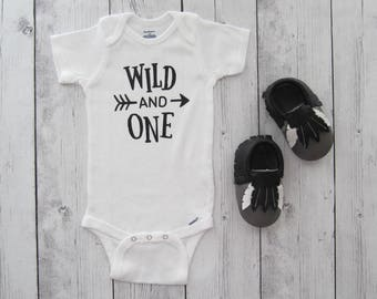 Wild and One First Birthday Onesie - boy first birthday, boy mocassins, arrow one, boy mocs, boy birthday outfit, wild one outfit boy