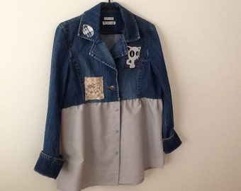 Upcycled Clothing Refashioned Funky Artsy Unique Shabby Repurposed Denim Jean Jacket. Women's Size Medium to Large.
