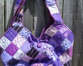 Mondo Bag; Purple patchwork squares