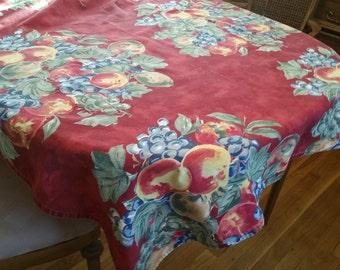 Vintage Rectangular Red Cotton Tablecloth, Fruit Design, Summer Decor, Country Decor, Farmhouse decor, picnic, porch decor, barbeque, cottag