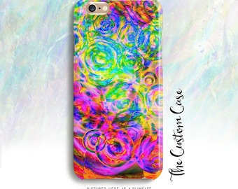 Psychedelic Iphone Case, Neon IPhone Case, Neon Water Ripples, Iphone 8 case, iphone X case, Note 8 case, Iphone 8 plus case