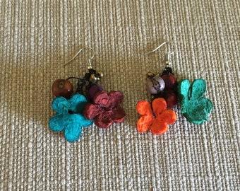 Orange Peel Earrings / Natural Flower Earrings / Floral Earrings / Acai Earrings