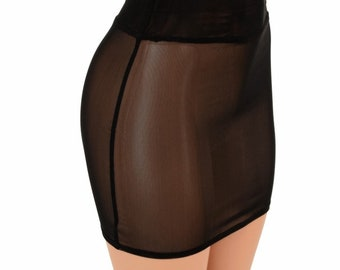 "Black Mesh Sheer See Through Bodycon Skirt 16"" Length - 155141"