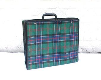 Small Vintage Suitcase Luggage Retro Traveling Bag Tartan Photo Prop Mini Suitcase With Strap