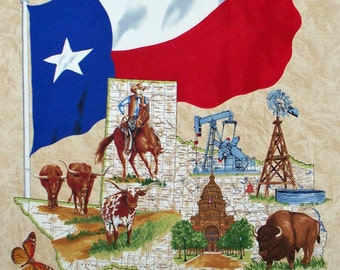 """Lone Star Map Brown cotton panel -- approximately 23"""" x 44"""""""