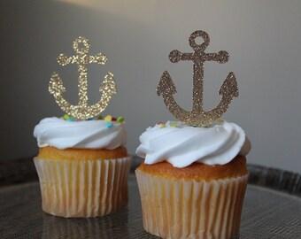 Nautical theme cupcake toppers 12 ct   Nautical baby shower   Nautical bridal shower   Anchor decorations   Nautical birthday, bachelorette