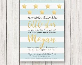 Twinkle Twinkle Little Star Baby Shower Invitation   Boy shower Invitations   Light Blue Gold   Baby Sprinkle   Invite   Invites   Printable