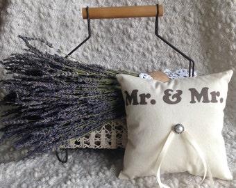Gay Wedding Ring Bearer Pillow - Gay and Lesbian, Lavender Pillow