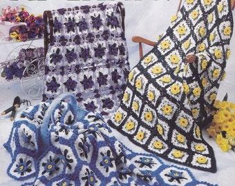 Flower Garden Afghans, Annie's Attic Crochet Pattern Booklet 879914 OOP