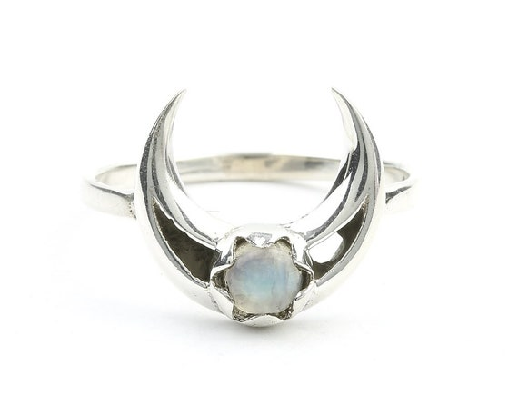 Moonstone Moon Ring, Sterling Silver Crescent Moon Moonstone Ring, Stone Jewelry, Gemstone, Crystals, Boho, Gypsy, Minimal