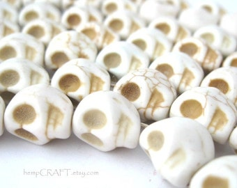 Skull Beads, White Day of the Dead Magnesite Stone Beads - Full Strand 30pcs - 8x12mm