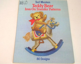Teddy Bear Iron-On Transfer Patterns By Ted Menton Vintage Craft Book