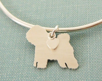Bichon Frise Dog Bangle Bracelet, Sterling Silver Personalize Pendant, Breed Silhouette Charm, Rescue Shelter, Mothers Day Gift