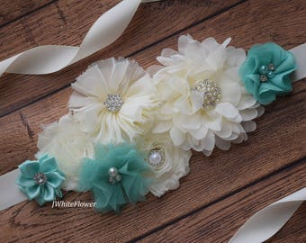 Aqua ivory sash ,flower Belt, maternity sash, wedding sash, flower girl sash, maternity sash belt