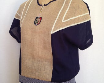 1980s navy and tan sportswear set