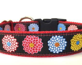Pom Pom Flowers Ribbon Dog Collar