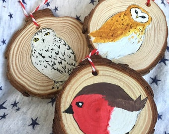 Bird Holiday Ornaments THREE Christmas Birds Decorations Barn Owl, Snowy Owl,  Robin Ornament THREE Christmas Decorations Robin Owl Decor