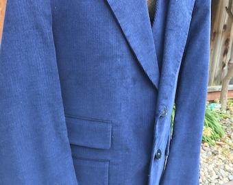 Vintage Men's Blue Corduroy Sport Coat and Vest Set Size L