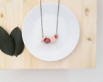 Mae Necklace | Petite Geometric beads | Pastel pinks